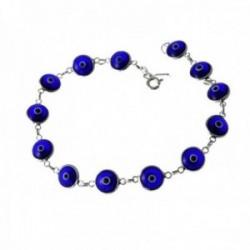 Pulsera plata Ley 925m 19.5cm. ojo turco azul cierre reasa mujer