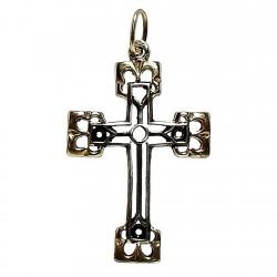 Cruz crucifijo plata Ley bicolor [2479]