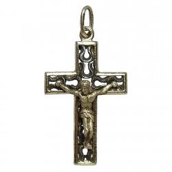 Cruz crucifijo con Cristo plata Ley chapada bicolor [2752]