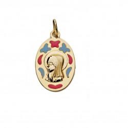 Medalla oro 9k Virgen Niña 21mm. oval lisa formas esmaltadas rosa azul mariposas corazón