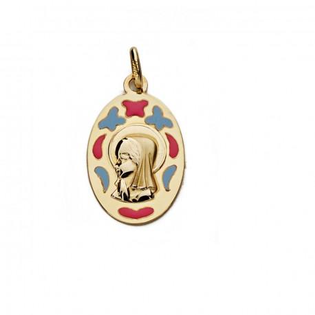 Medalla oro 9k Virgen Niña 21mm. [AA0755]