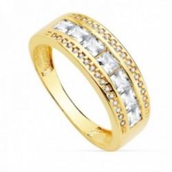 Sortija oro 18k mujer ancho 7mm. piedras centro carré bandas circonitas redondas