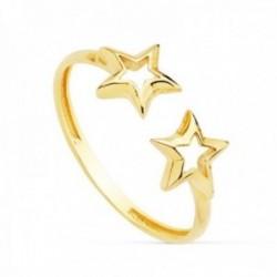 Sortija oro 18k ajustable abierta estrellas caladas 6mm. extremos