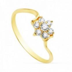 Sortija oro 18k mujer centro cuajo 7mm. circonitas forma flor