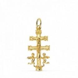 Cruz caravaca oro 18k crucifijo 24mm. colgante liso cristo ángeles lateral