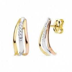 Pendientes oro tricolor 18k bandas lisas 15mm. centro circonitas cierre presión