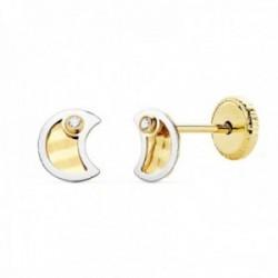 Pendientes oro bicolor 18k niña 5.5mm. luna centro tallado borde punta circonita cierre tuerca