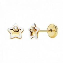 Pendientes oro bicolor 18k niña 5mm. estrella centro tallado borde punta circonita cierre tuerca