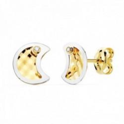 Pendientes oro bicolor 18k mujer 8mm. luna centro tallado borde punta circonita cierre presión