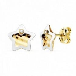 Pendientes oro bicolor 18k mujer 8mm. estrella centro tallado borde punta circonita cierre presión