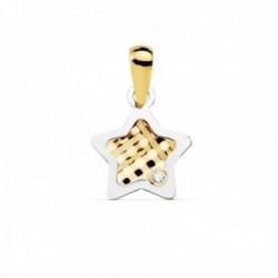 Colgante oro bicolor 18k mujer 10mm. estrella centro tallado borde punta circonita