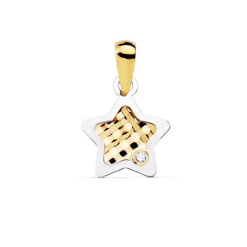 código promocional df2e7 e6546 Colgante oro bicolor 18k mujer 10mm. estrella centro tallado borde punta  circonita