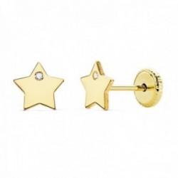 Pendientes oro 18k niña 6mm. estrella lisa punta circonita cierre tuerca