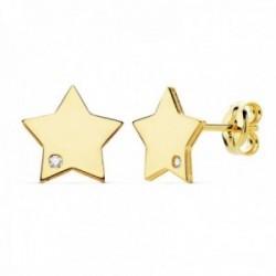 Pendientes oro 18k mujer 8mm. estrella lisa punta circonita cierre presión