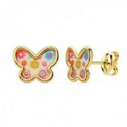 Pendientes oro 18k niña 9mm. mariposa fondo nácar detalles colorines borde liso cierre presión
