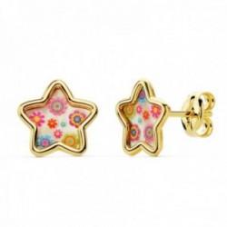 Pendientes oro 18k niña 8mm. estrella fondo nácar detalles colorines borde liso cierre presión