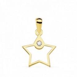 Colgante oro 18k mujer 12mm. estrella calada borde liso punta circonita