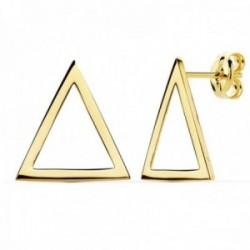 Pendientes oro 18k mujer 14mm. forma triángulo calado borde liso cierre presión
