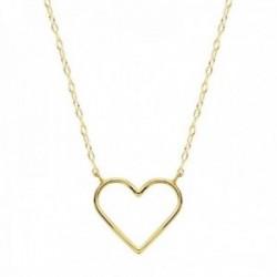 Gargantilla oro 18k cadena 40cm. forzada tallada motivo corazón 16x14mm. calado borde liso