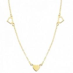Gargantilla oro 18k cadena 40cm. forzada tallada corazones calados principal centro liso