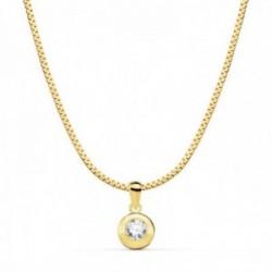 Gargantilla oro 18k cadena plana 42cm. centro chatón 8.5mm. circonita