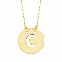 Gargantilla oro 18k cadena 42cm. forzada colgante letra C chapa 15mm. calada