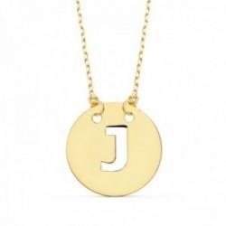 Gargantilla oro 18k cadena 42cm. forzada colgante letra J chapa 15mm. calada