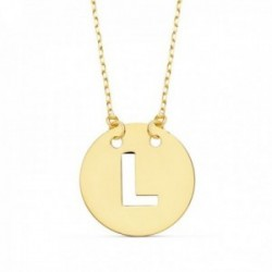 Gargantilla oro 18k cadena 42cm. forzada colgante letra L chapa 15mm. calada