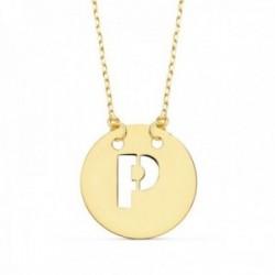 Gargantilla oro 18k cadena 42cm. forzada colgante letra P chapa 15mm. calada
