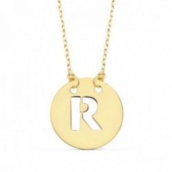 Gargantilla oro 18k cadena 42cm. forzada colgante letra R chapa 15mm. calada