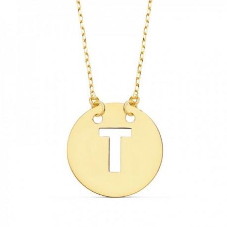 Gargantilla oro 18k cadena 42cm. forzada colgante letra T chapa 15mm. calada