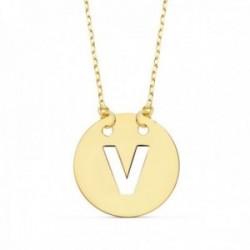 Gargantilla oro 18k cadena 42cm. forzada colgante letra V chapa 15mm. calada