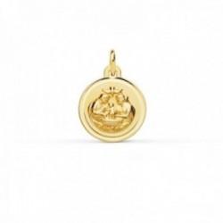Medalla oro 18k Bautismo 12mm. paloma Espíritu Santo cerco bisel