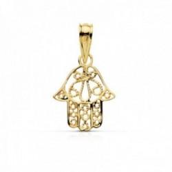 Colgante oro 18k amuleto mano de Fátima 14mm. calada detallaes interior tallados