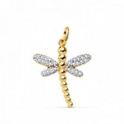 Colgante oro bicolor 18k mujer libélula 21mm. detalles alas circonitas