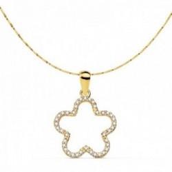 Gargantilla oro 18k mujer cadena 42cm. veneciana colgante flor 16x16mm. borde circonitas