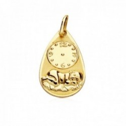 Medalla oro 18k forma lágrima 19mm. niño durmiendo reloj cerco liso