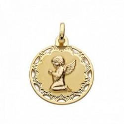Medalla oro 18k ángel rezando 18mm. redonda cerco detalles calados