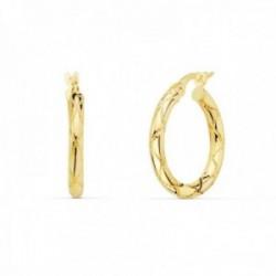 Pendientes oro 18k mujer aros 20mm. redondos huecos dibujo tallado cierre palillo