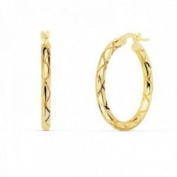 Pendientes oro 18k mujer aros 25mm. redondos huecos dibujo tallado cierre palillo