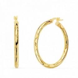 Pendientes oro 18k mujer aros 30mm. redondos huecos dibujo tallado cierre palillo