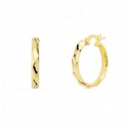 Pendientes oro 18k mujer aros 18mm. media caña bandas brillo cierre palillo