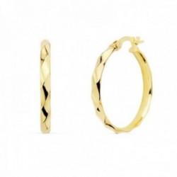 Pendientes oro 18k mujer aros 24mm. media caña bandas brillo cierre palillo
