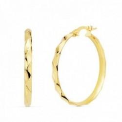 Pendientes oro 18k mujer aros 29mm. media caña bandas brillo cierre palillo