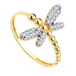 Sortija oro bicolor 18k mujer libélula 17mm. detalles alas circonitas