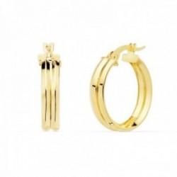 Pendientes oro 18k mujer aros 18mm. redondos huecos dobles cierre palillo
