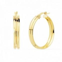 Pendientes oro 18k mujer aros 25mm. redondos huecos dobles cierre palillo