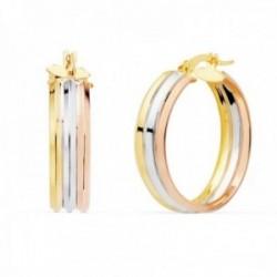 Pendientes oro tricolor 18k mujer aros 24mm. redondos huecos triples cierre palillo