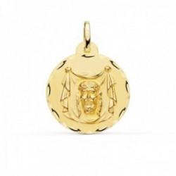 Medalla oro 18k Santa Faz 22mm. redonda borde tallado
