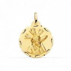 Medalla oro 18k Cristo Gran Poder 22mm. redonda borde tallado